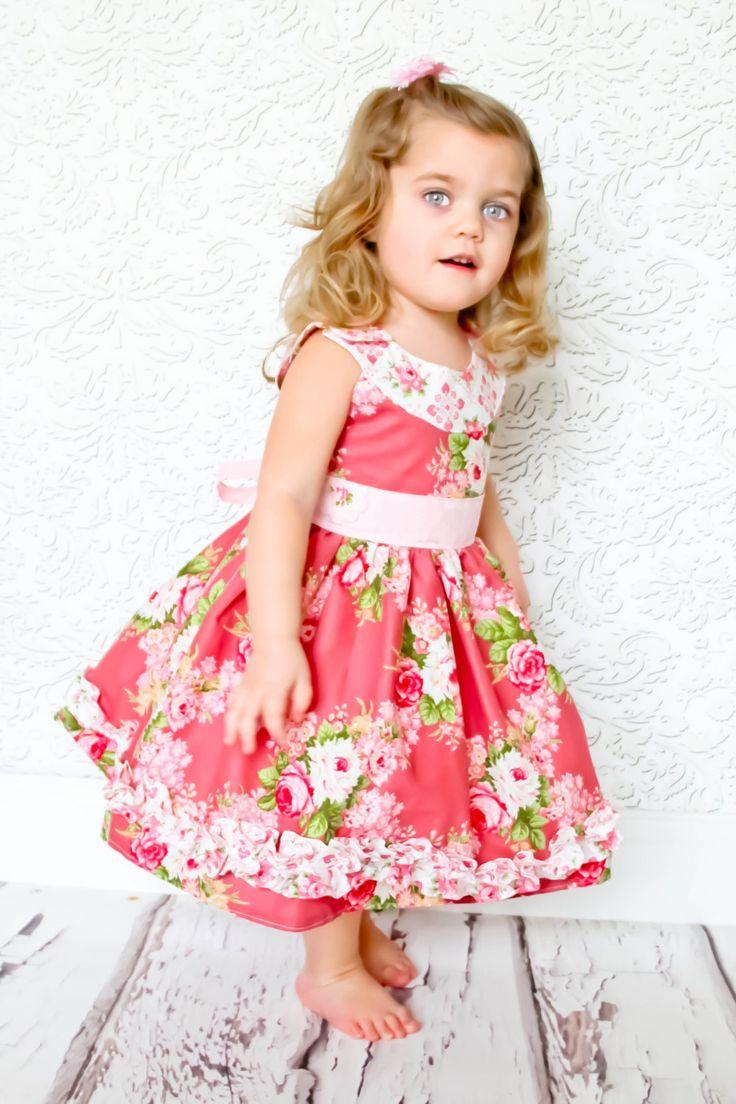 Ruby Sue Round Neck Retro Style Dress, 6-12 months - 12 yrs