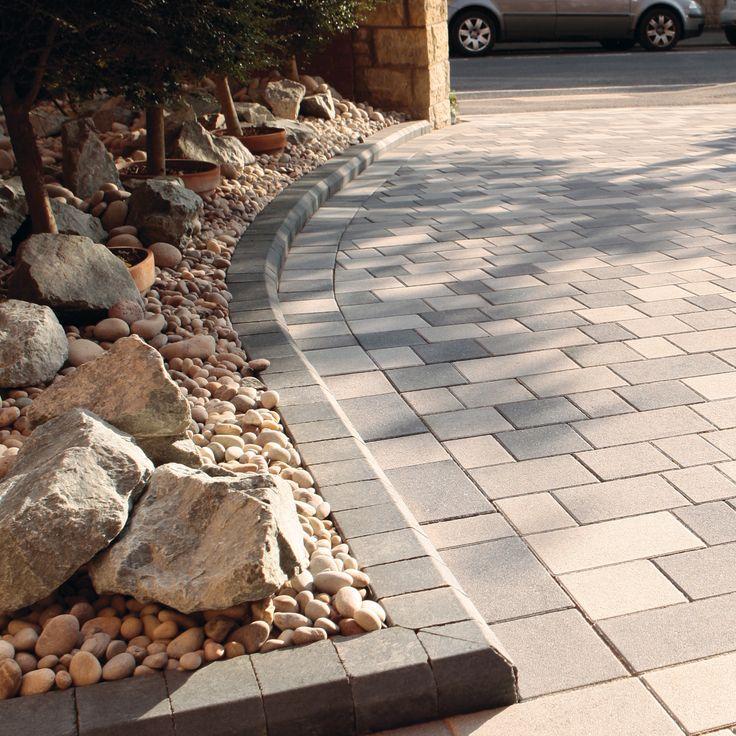 Rockery Stones Paved Driveway Idea