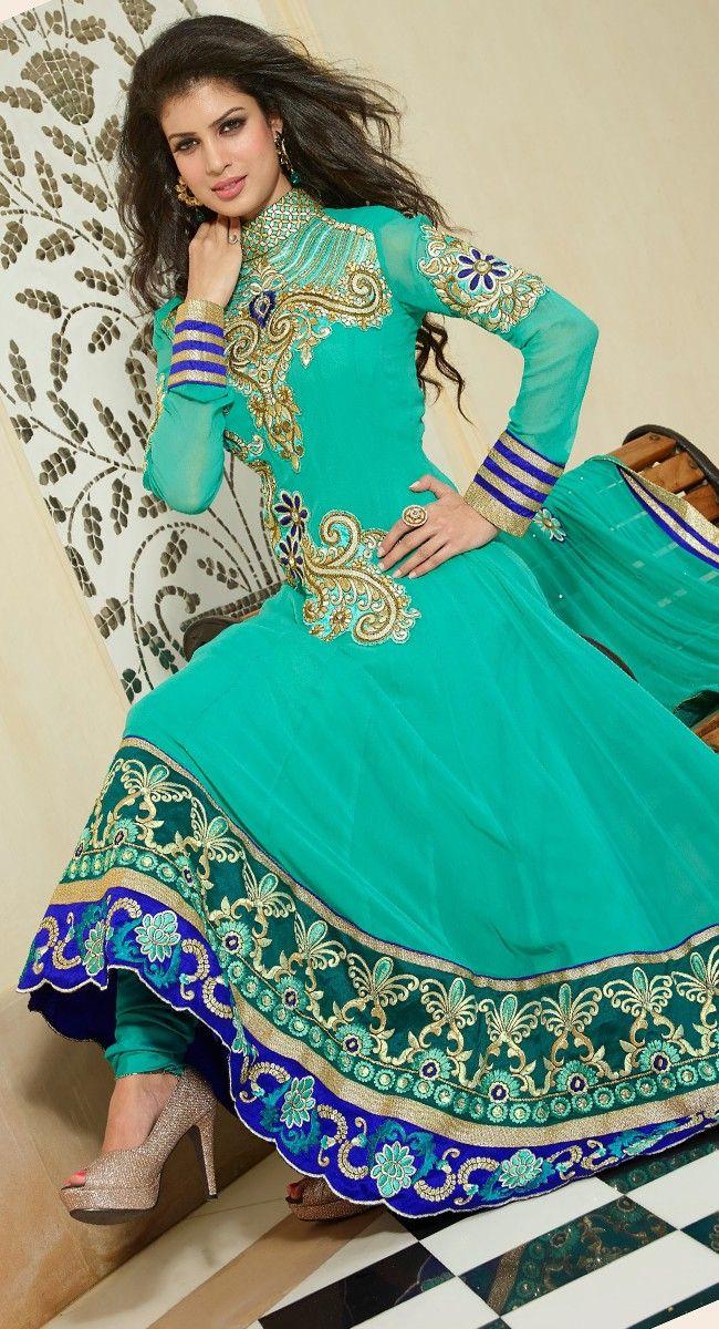 Alluring Cyan Blue Salwar Kameez http://just4evesboutique.in/online-salwar-kameez