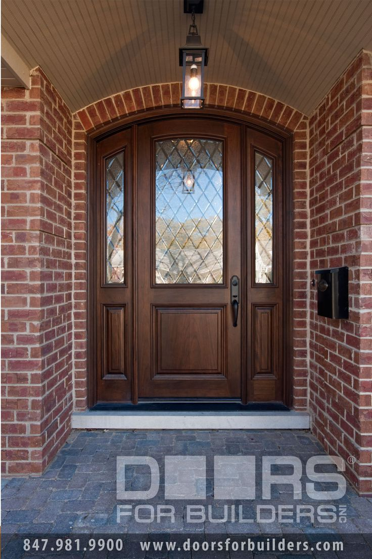 Single Door With Half Diamond Glass In Door In Sidelights, Pre Hung,  Prefinished Wood Front Entry Doors In Stock   From Doors For Builders, Inc.