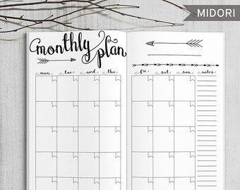Planner mensile stampabile Midori Planner di HappyDigitalDownload