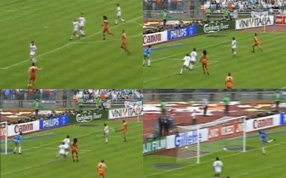 Marco van Basten's famous goal against Russia in 1988's final.  Go check it out on You Tube:  http://www.youtube.com/watch?v=Tu4LX74PKUI