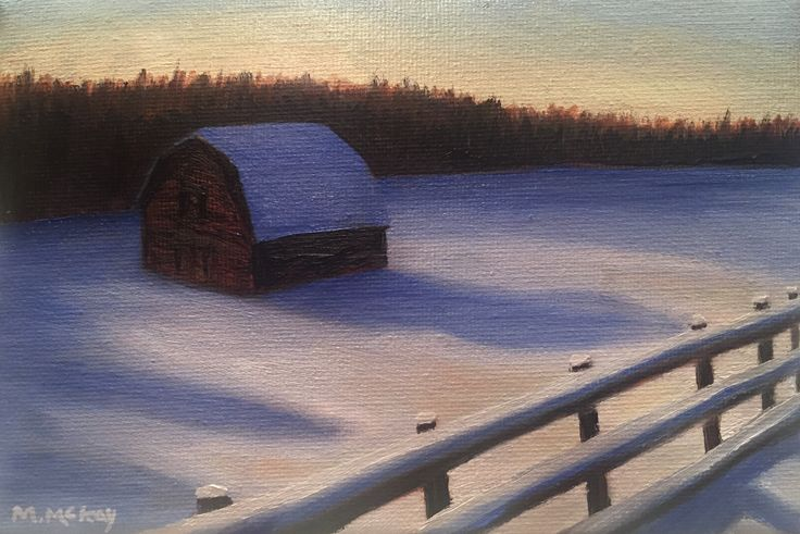 Winter barn, Muskoka, Ontario, original oil painting by artist Maureen McKay
