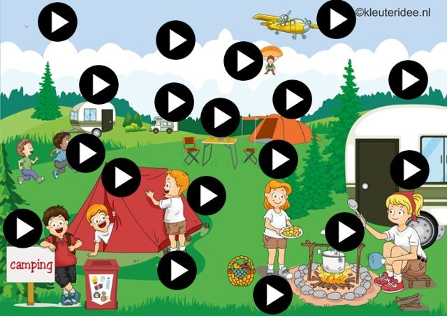 Interactieve praatplaat thema camping voor kleuters, kleuteridee.nl by juf Petra