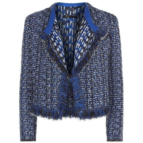 Maje Marius Tweed Fringe Trim Cardigan ($370) ❤ liked on Polyvore featuring tops, cardigans, cami top, double layer top, blue cardigan, blue cami top and maje