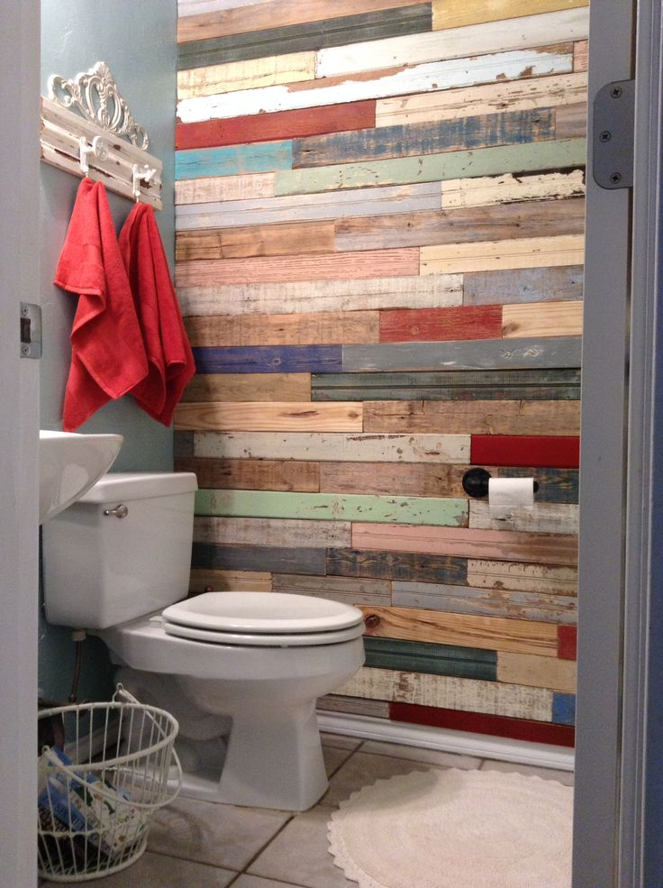 Wood Wall With Unique Shelf & Industrial Style Toilet Paper Holder