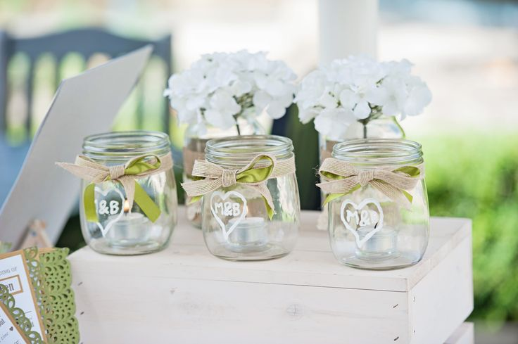 Rustic Chic Wedding; Decorated Jam Jars; Finishing Touch; Hydrangea; Hessian; Lace; Ribbon; Green & White Wedding; Hand-made