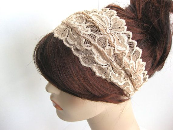 Wide Lace Headband Beige Taupe Flowers Head Wrap #lace #beige #laceheadband #headband #headwrap #wideheadband