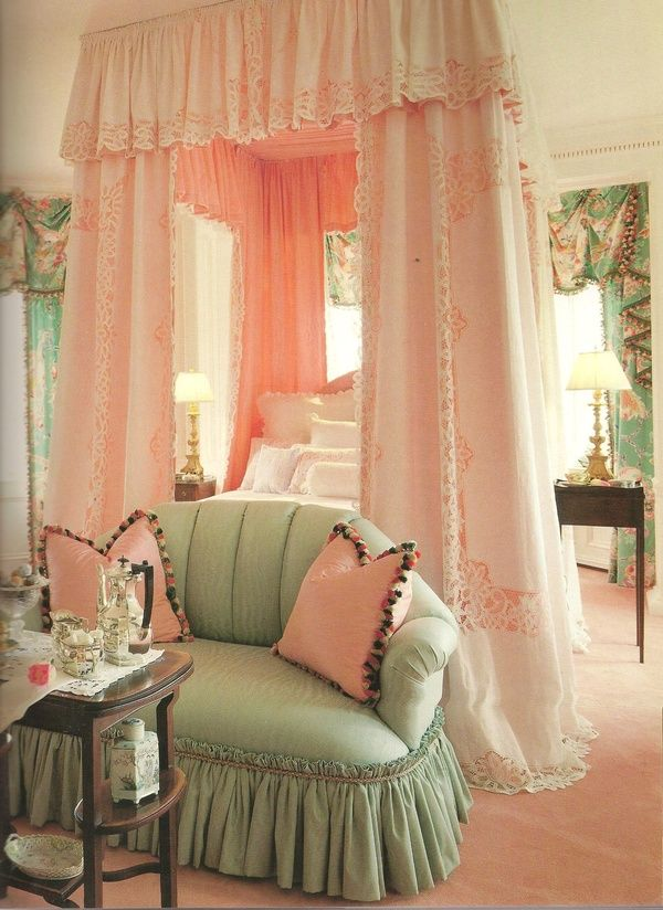 pink and soft green bedroom printed draperies tassel and lace trim ruffled skirted loveseat. Black Bedroom Furniture Sets. Home Design Ideas
