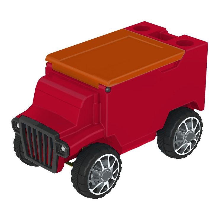 Red/Orange RC Truck Cooler w/ Bluetooth Speakers