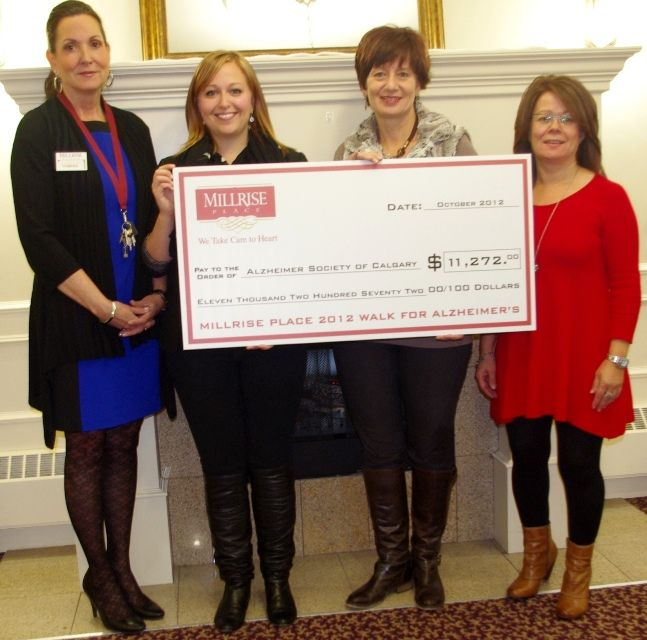 Millrise Place seniors assisted living residence in SW Calgary raised $11K+ for Alzheimer of Calgary. The finds will be used locally.  Millrise Place staff are to be congratulated on giving back to the community in which they work.