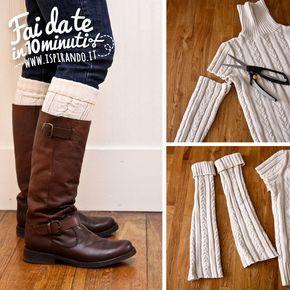Un'idea perfetta per la stagione invernale! Come realizzare semplicemente degli scaldamuscoli con il riciclo di un maglione invernale! Da fare in soli 10 minuti! #DIY #fastDIY #sweater