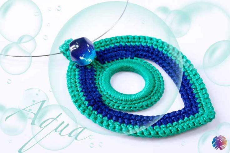 "crocheted Necklace ""Aqua"""
