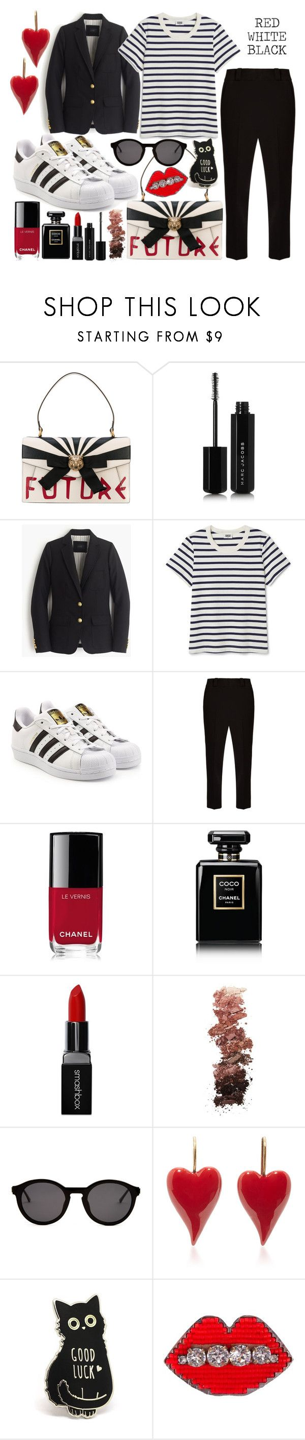 """""""Red, White & Black"""" by librarychic ❤ liked on Polyvore featuring Gucci, Marc Jacobs, J.Crew, adidas Originals, The Row, Chanel, Smashbox, L.A. Girl, Thierry Lasry and Shourouk"""