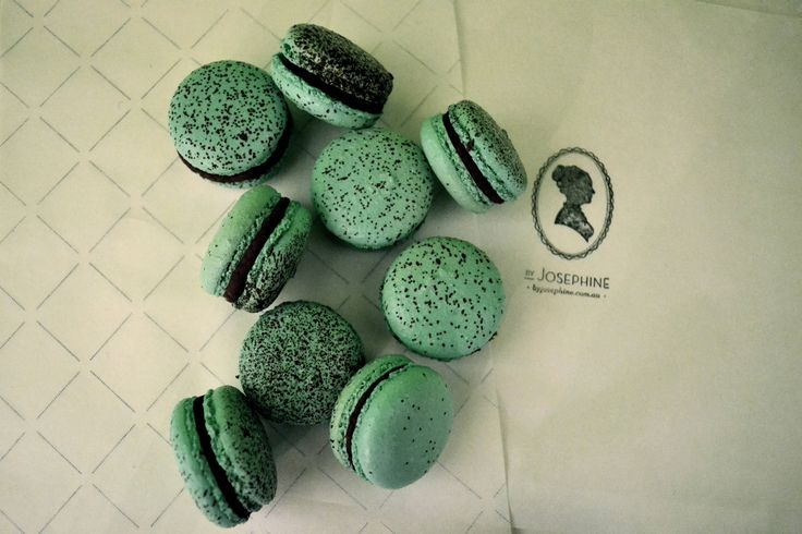 Our Peppermint and Chocolate macaron brings a smooth and luxurious minty tone on your palate. In this famous recipe, the freshness of the mint reveals the rich dark chocolate flavor. Simply exquisite …  http://macaronsbyjosephine.com.au/
