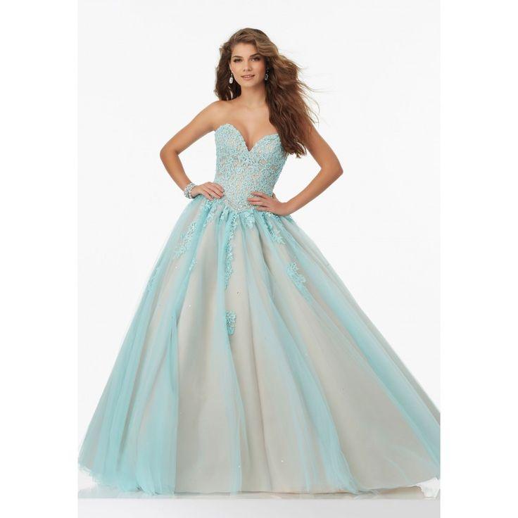 Mori Lee 99114 Aqua Blue Princess Ball Gown | RissyRoos.com
