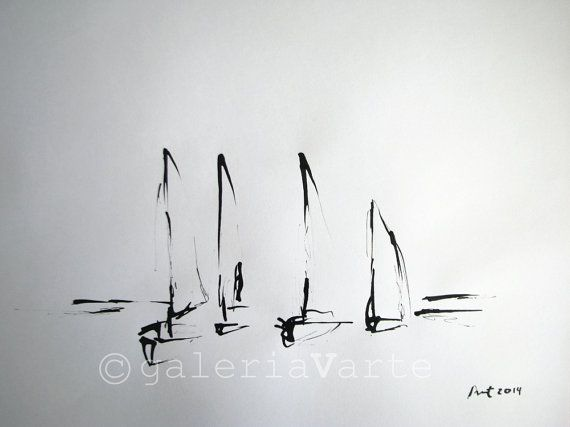 Original ink drawing  Boats  europeanstreetteam by galeriaVarte, $95.00