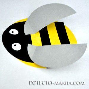 wheels of origami, bee, spring, shapes, dziecio-mamia.com
