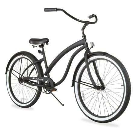 26 inch Firmstrong Bella Fashionista Single Speed Women's Beach Cruiser Bicycle, Matte Black with Black Rims