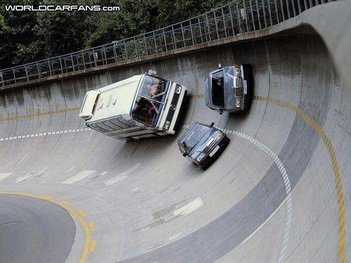 Daimler-Benz test track bus