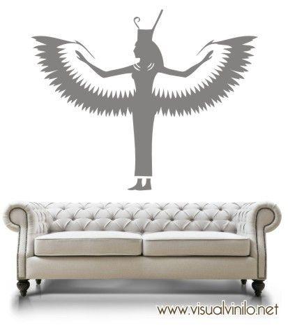 Diosa Egipcia ISIS en vinilo decorativo, pertenece a nuestra colección de stickers decorativos etnicos. http://www.visualvinilo.net/vinilos-decorativos/vinilos-decorativos-etnico/