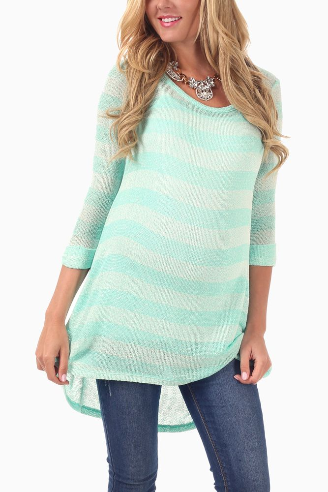 Mint Green Striped Knit 3/4 Sleeve Maternity Tunic #maternity #cutematernityclothes #cutematernitysweater #maternityoutfitideas