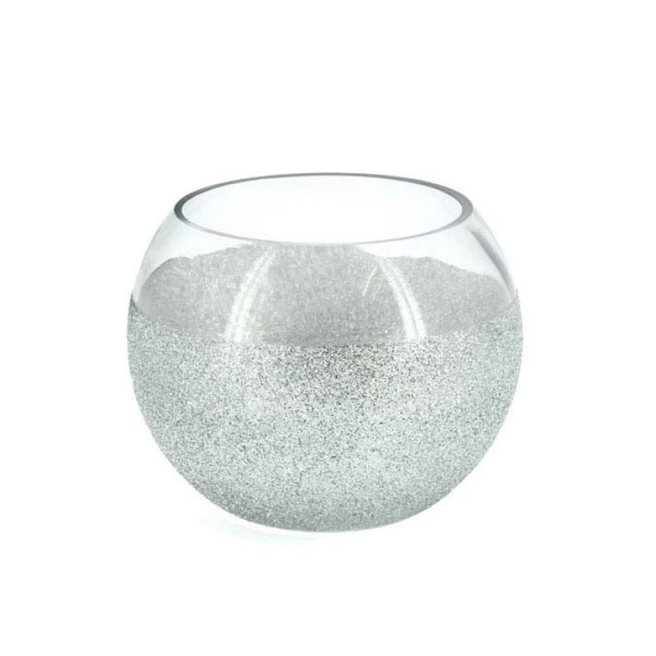 Glass Silver Glitter Fish Bowl 11TD x 15W x 11H cm (LE-FISH15) | Oceans Floral-We stock competitively priced quality glassware in a large range of styles. Whether you need glass vases, fish bowls, bottles and jars, hanging vases or an elegant showcase piece, we have the latest styles and a fantastic variety of glass vessels to cover all occasions. Weddings, DIYwedding, Centrepiece, Event planning.