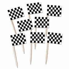 24 Cupcake toppers Racing flags toothpicks