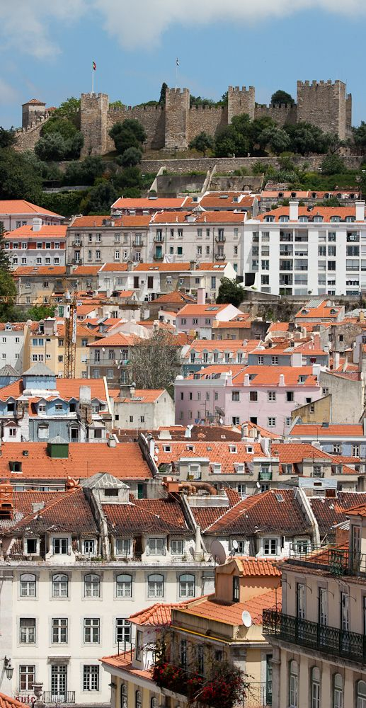 Lisboa, Lisbon, Portugal. The castle San Jorge on the top of the hill.