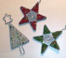 Beautiful beaded Christmas ornaments I bought at a market in Cape Town, South Africa