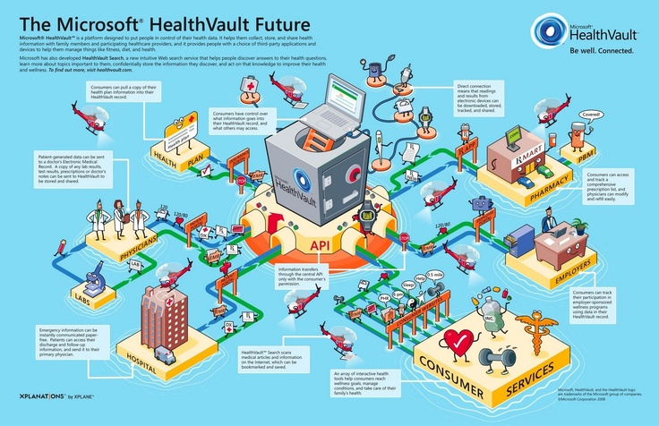 http://infographics.w3ec.com/wp-content/uploads/2009/02/microsofthealthvault-thumb.jpg  This image breaks down how Microsoft plans on moving its product to a higher and more futuristic movement.