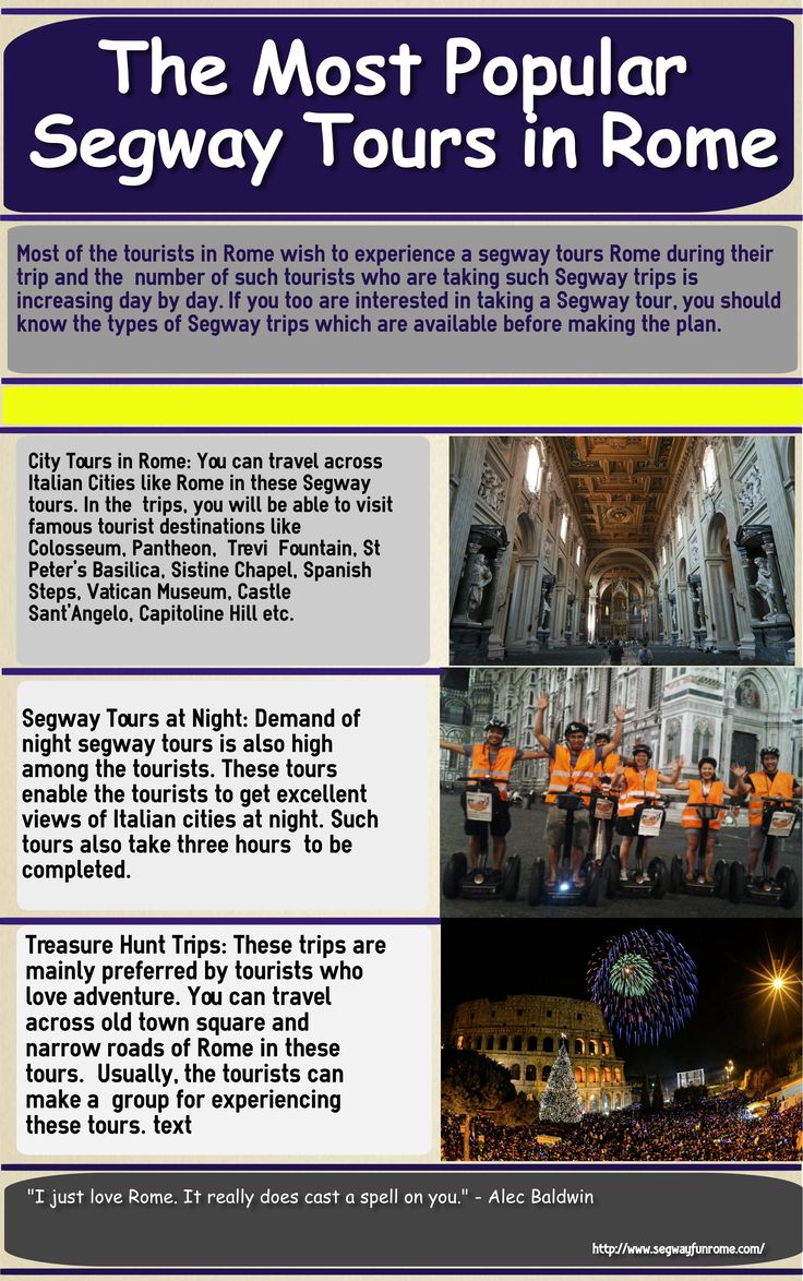 This infographic talks about the most popular segway tours in Rome