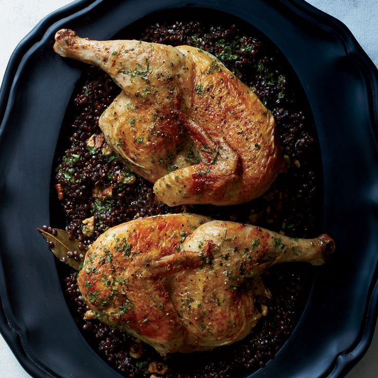 Cast-Iron Roast Chicken with Lentils and Walnut Vinaigrette | Food