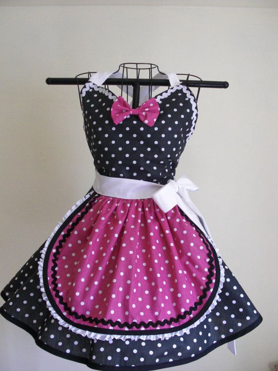 Retro Apron French Maid Apron Pinup Black by ArtsyCraftsyBoutique, $35.00