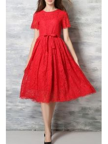 Lace Round Neck Short Sleeve A Line Dress