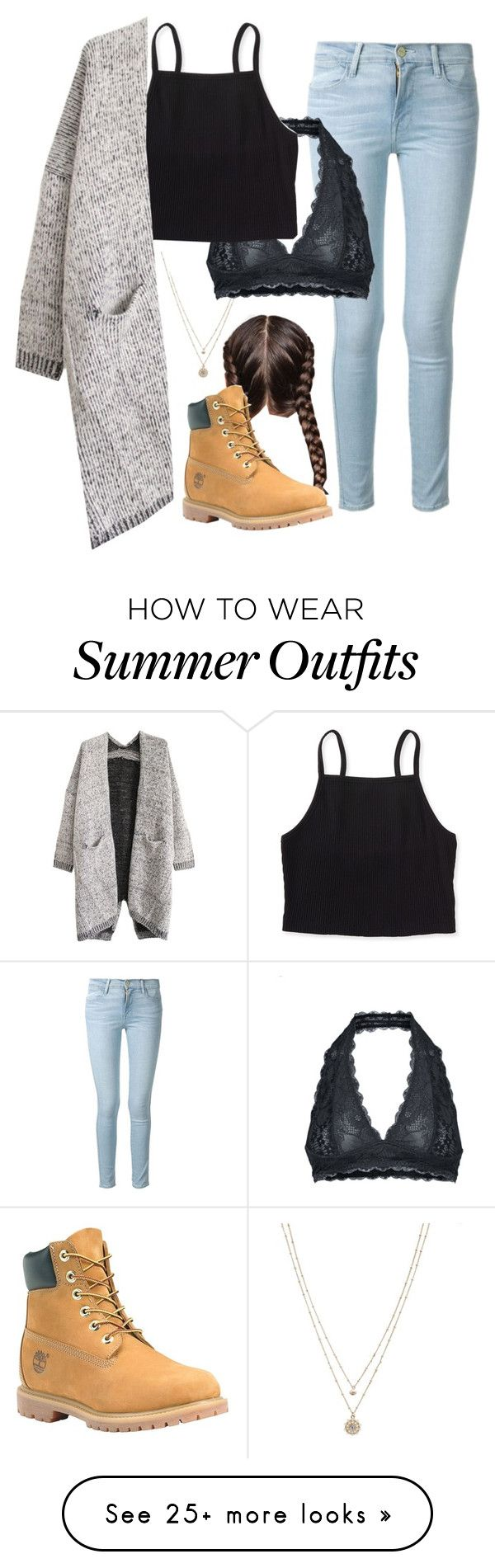 """""""school outfit 1"""" by g-wear on Polyvore featuring LC Lauren Conrad, Frame Denim, Free People, Aéropostale, Timberland, BackToSchool, school and schooloutfit"""