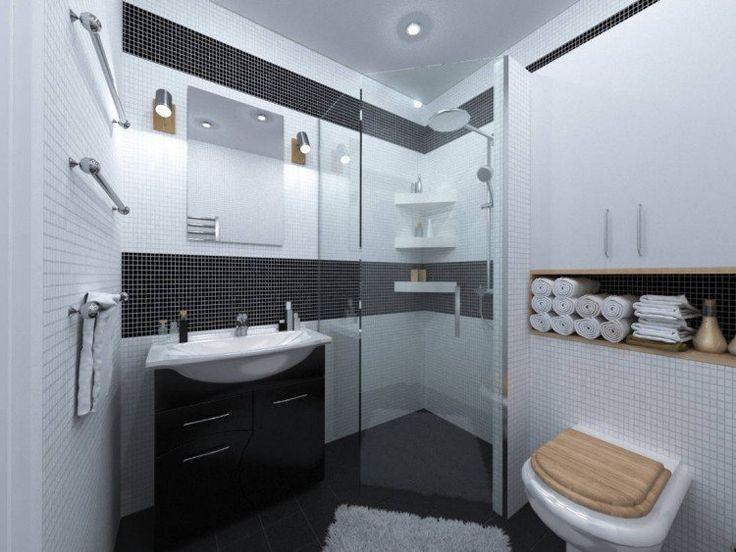 cabine de douche en verre, carrelage mural blanc neige et meuble de rangement noir laqué