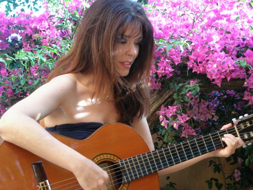 Sonia Grammatikos - a local singer/guitarist from Corfu at Agiotfest 2010