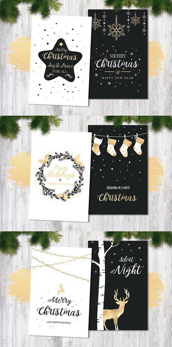 Black White Christmas Cards Vol 2 Best Card Templates Creative Cards Card Templates Cards