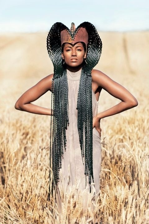 Renenutet - Egyptian Goddess of Grain, Milk, Fortune, and the Harvest. I wanna use some kind of braids for my mask design... This is lovely