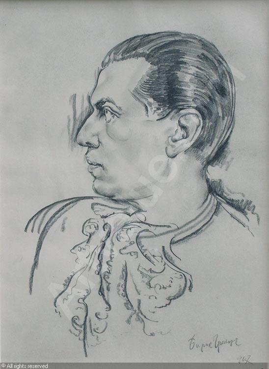 Portrait de Serge Lifar  by Boris Grigoriev (Russian, 1886 - 1939)