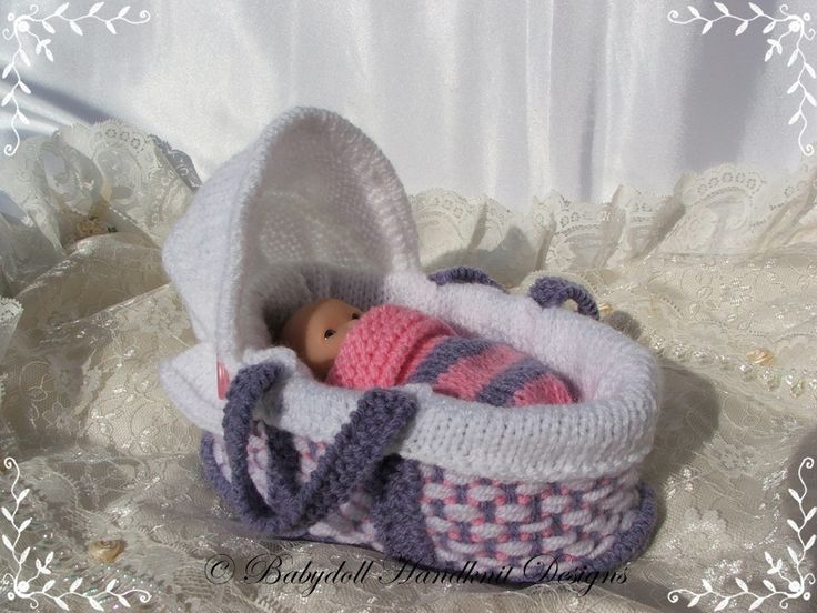Knitting Patterns For Dolls Bedding : Moses Basket 4-5