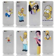 2014 New llegan 22 stylel para Apple iphone 6 caja transparente blancanieves simpson mano agarrar el logo teléfono celular cubiertas de los casos(China (Mainland))