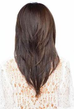 V-shaped layered haircut. I would like it longer though. @Nicole Novembrino Novembrino Arquilla