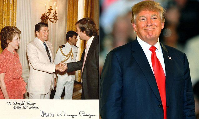 Trump shares throwback photo of Ronald and Nancy Reagan, showing former president's botched signature | Daily Mail Online