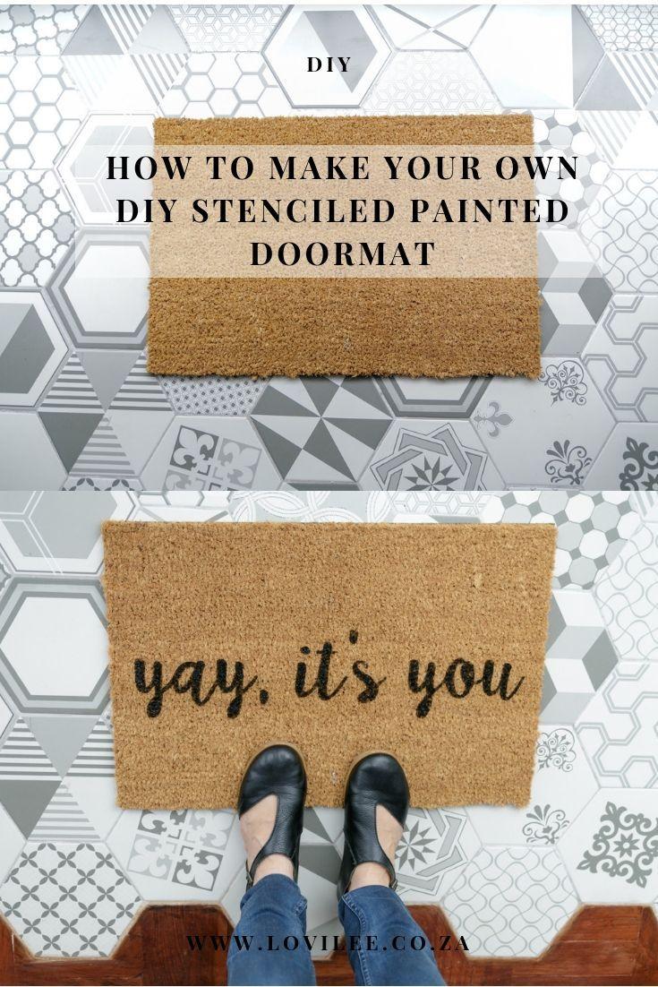 Make This Quirky Painted Diy Doormat In Under 1 Hour Lovilee Door Mat Diy Door Hangers Diy Diy Door