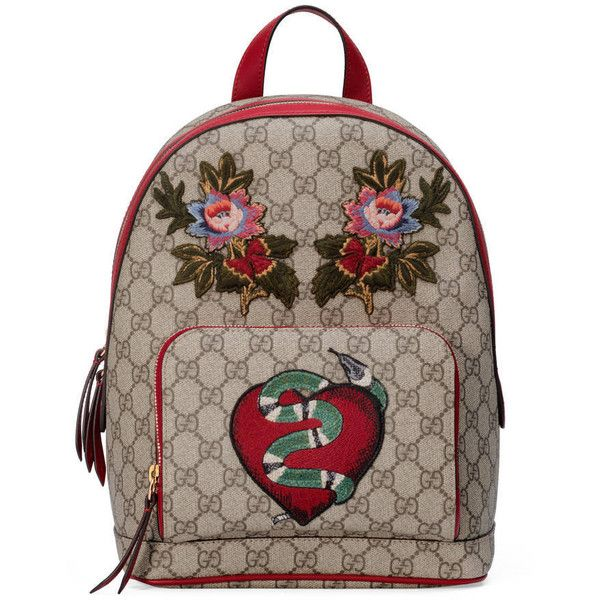 Gucci Limited Edition Gg Supreme Backpack ($1,690) ❤ liked on Polyvore featuring bags, backpacks, gucci bags, flower backpack, gucci backpack, brown evening bag and holiday bags