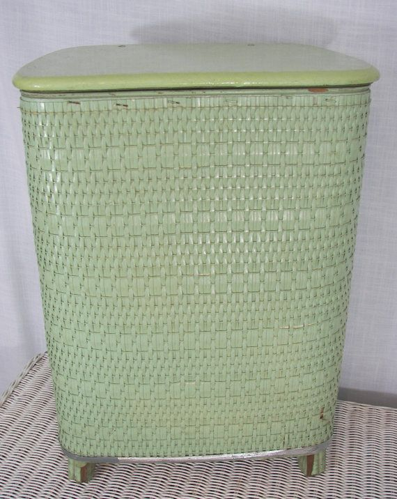 Vintage Wicker Laundry Hamper Mint Green Hampers Pinterest And