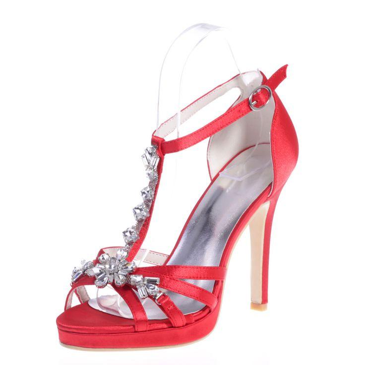 Moda kadın zarif kristal gem sandalet stiletto ayak bileği kayışı topuk kırmızı…