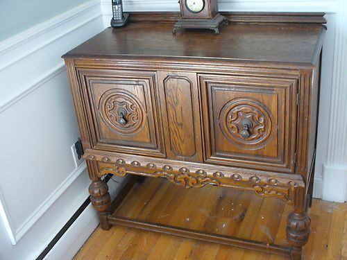 Antique Gothic Revival Jacobean Style Oak Buffet Server Sideboard Small Ebay Vintage Charm